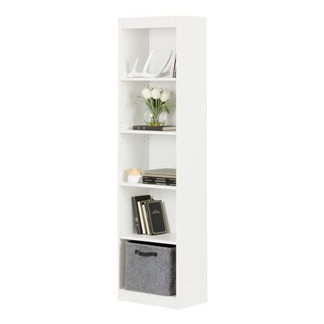 south shore 5 shelf bookcase south shore axess 5 shelf narrow bookcase in white