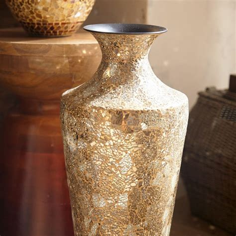 Silver Crackle Vase by Gold Silver Crackle Glass Mosaic Vase Goodglance
