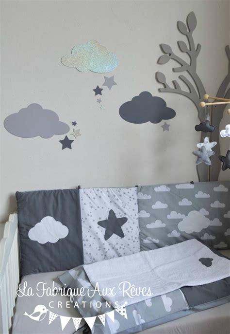stickers chambre fille feerique stickers nuages étoiles gris foncé argent gris clair