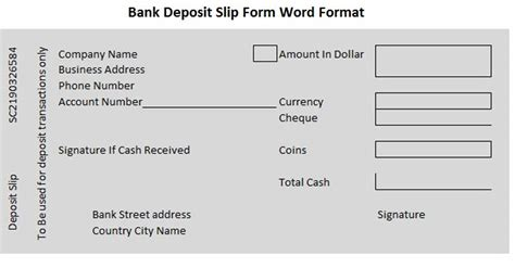 bank deposit slip form word format wordtemplateinn