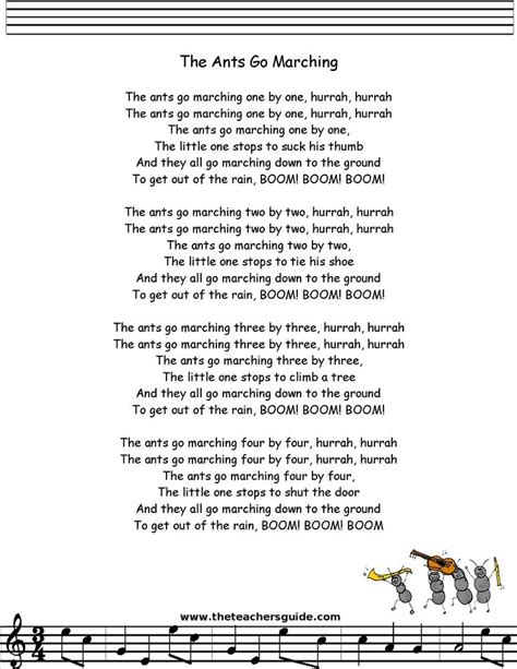 ants go marching lyrics printout preschool stuff 660 | ca90acca3765c3aa8ff10c1040221d7b