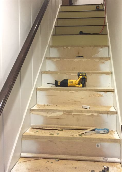 wood flooring step stairway makeover swapping carpet for laminate the lilypad cottage