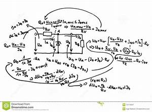 Circuit Diagram And Equations Stock Illustration