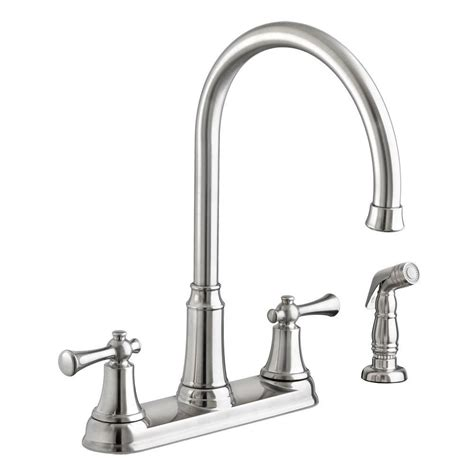 american kitchens faucet american standard portsmouth high arc 2 handle standard kitchen faucet with side sprayer in