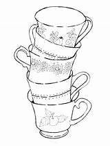 Coloring Tea Cup Teacup Pages Printable Dishes Cups Getdrawings Getcolorings Print Teacups Pag Colorings Adults sketch template