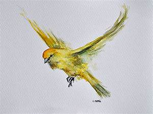 ORIGINAL Watercolor Painting Flying Yellow Canary Bird 6x8