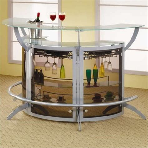 Home Bar Glass coaster contemporary metal glass top home bar unit in