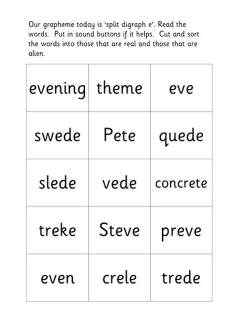 Real And Alien Words Split Digraph Ee Sorting By Lukeliamlion  Teaching Resources Tes