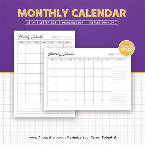 monthly calendar  calendar  planner inserts
