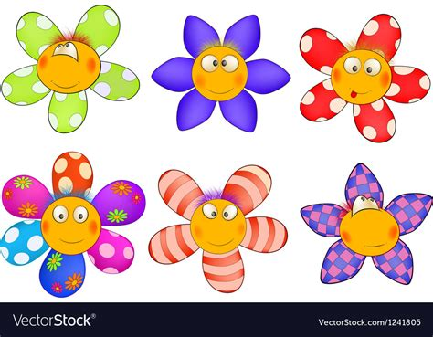 Cheerful Small Flowers Cartoon Royalty Free Vector Image