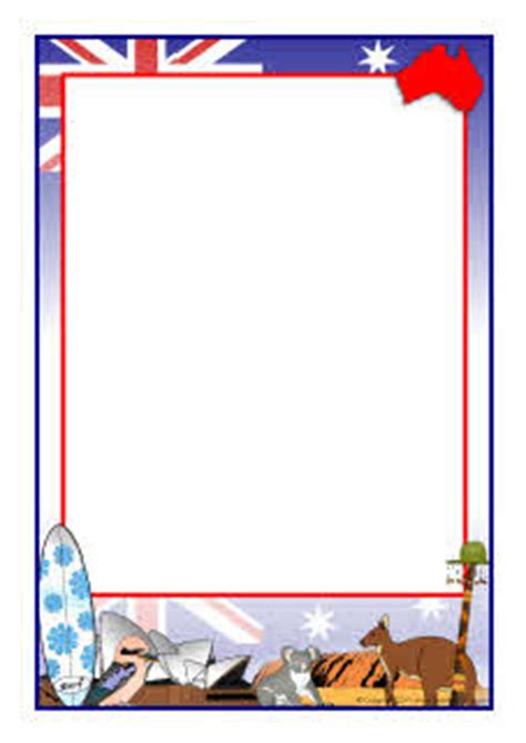 paper clip magnet australia themed a4 page borders sb5252 sparklebox