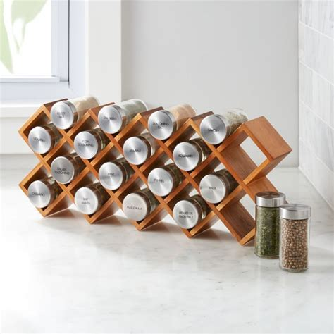 18 Jar Acacia Wood Spice Rack   Crate and Barrel