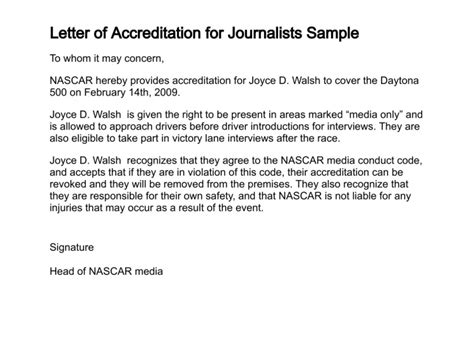 letter  accreditation