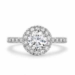 18ct white gold halo cluster engagement ring 090ct for Cluster wedding rings