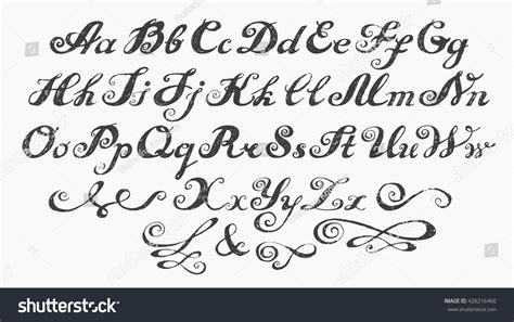 calligraphy alphabet typeset lettering capital lowercase