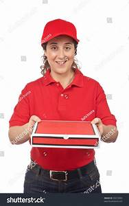 Pizza Delivery Woman Holding Hot Pizza Stock Photo ...