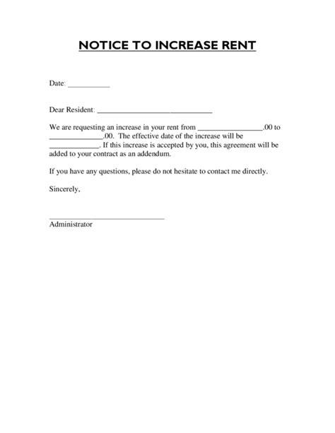 rent increase letter  legalformsorg