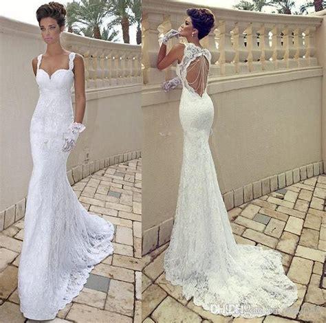 backless wedding dress lace vestido de noiva spaghetti ivory