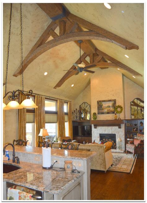 spectacular cathedral ceiling trusses faux wood workshop