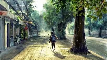 Anime Street Spring Concept Trees Sunlight Tree