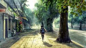 Concept, Art, Anime, Street, Trees, Spring, Sunlight, Wallpapers, Hd, Desktop, And, Mobile, Backgrounds