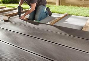 Pose Terrasse Composite Sur Dalle Beton : comment poser une terrasse en bois castorama ~ Carolinahurricanesstore.com Idées de Décoration