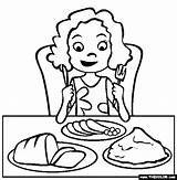 Dinner Easter Coloring Pages Eating Eat Table Meal December sketch template