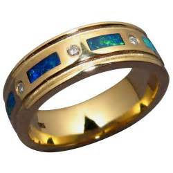 mens black diamond wedding band mens inlay opal and diamond band flashopal