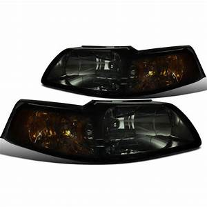 1999-2004 Ford Mustang 1-Piece Euro Crystal Replacement Headlights - Smoked