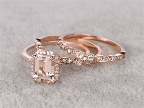 1.2ct Emerald Cut Morganite Wedding Set Art Deco Antique Diamond Bridal Ring 14k Rose Gold Half Distressed Antique White Baby Furniture French Fireplace Screens Chest Of Drawers With Mirror Schlage Pewter Deadbolt Grand Piano Uk Fire Extinguisher Yard Hydrant Incense Burners China