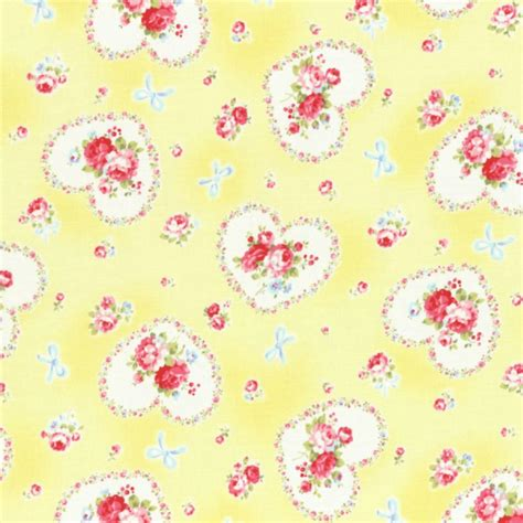 shabby chic fabrics ebay cottage shabby chic lecien princess rose hearts fabric 31266l 50 yellow bty ebay
