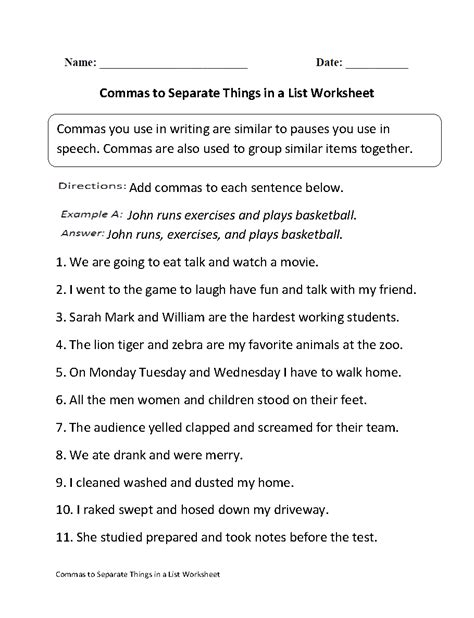 Commas Separate Things in List Worksheet | Projects to Try