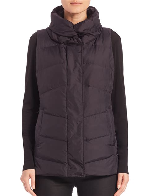 eileen fisher high collar puffer vest  black lyst