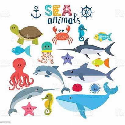 Sea Creatures Animals Cartoon Vector Illustration Fish