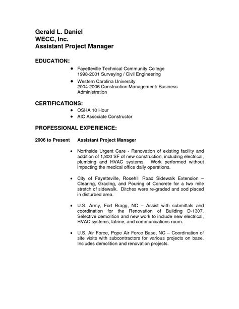 assistant construction project manager resume sales assistant lewesmr