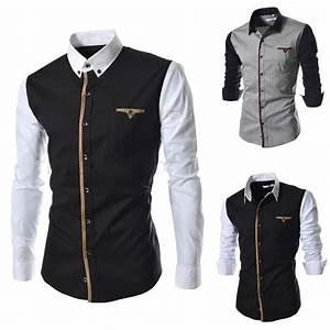 New 2014 mens designer clothes casual social patchwork ...