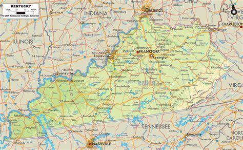 physical map  kentucky ezilon maps