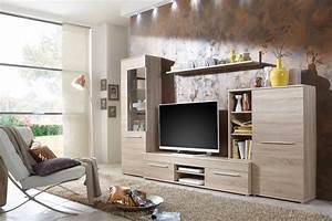 Schrankwand Sonoma Eiche : wohnwand wohnzimmerschrank schrankwand tv element real ~ Markanthonyermac.com Haus und Dekorationen