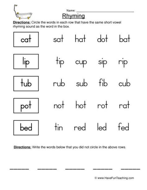 rhyming words  kids worksheets worksheets