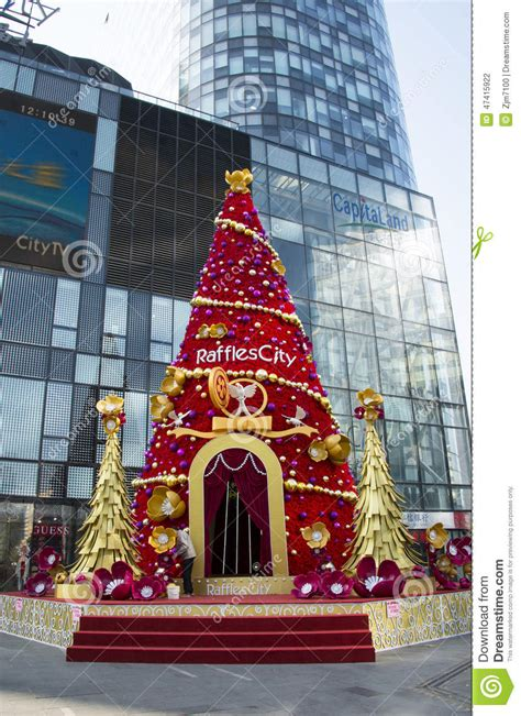 department stores before christmas tree editorial