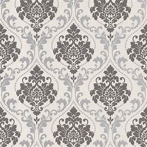 Silver Royal Damask Wallpaper