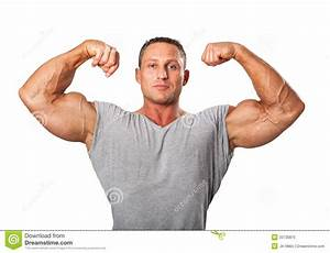 Attractive Male Body Builder  Demonstrating Contest Pose  Isolat Stock Image