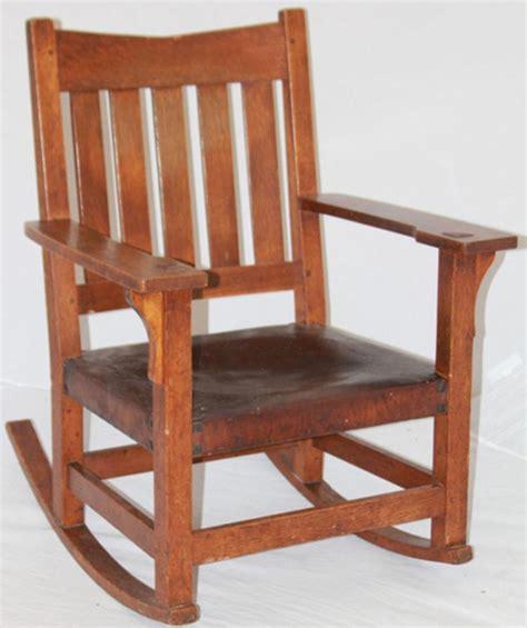 Stickley Oak Rocking Chair by Gustav Stickley Oak V Back Rocking Chair