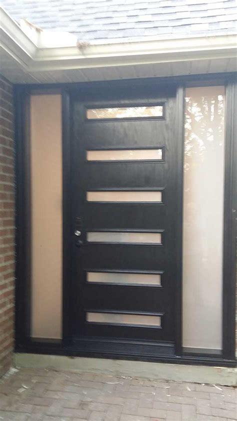 modern fiberglass single door   door lites  frosted side lites