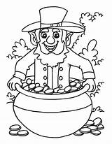 Pot Gold Coloring Leprechaun Template Pages Templates Popular sketch template