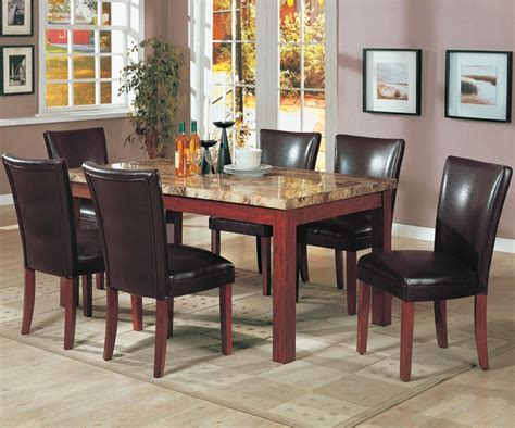 marble and wood dining table telegraph medium brown wood and marble dining table set
