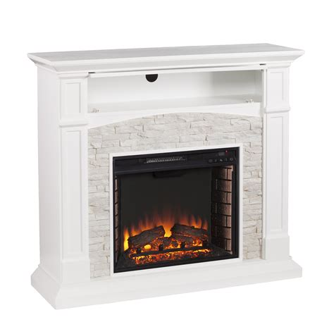 electric media fireplace stratford white faux electric media fireplace