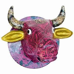 Tete De Vache Deco : t te de vache en papier m ch 24 cm suspendre t te d 39 animaux et troph es creavea ~ Melissatoandfro.com Idées de Décoration