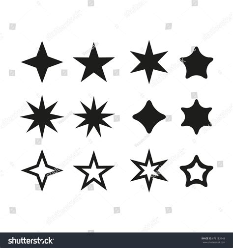 Set Star Vector Icon Star Set Stock Vector 678183148