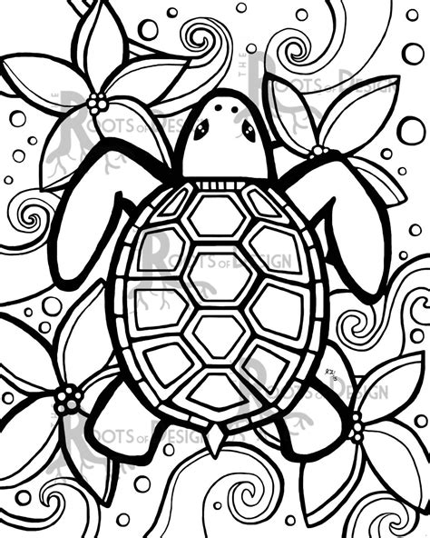 INSTANT DOWNLOAD Coloring Page Simple Turtle by